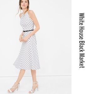 WHBM BIAS STRIPES FIT AND FLARE DRESS
